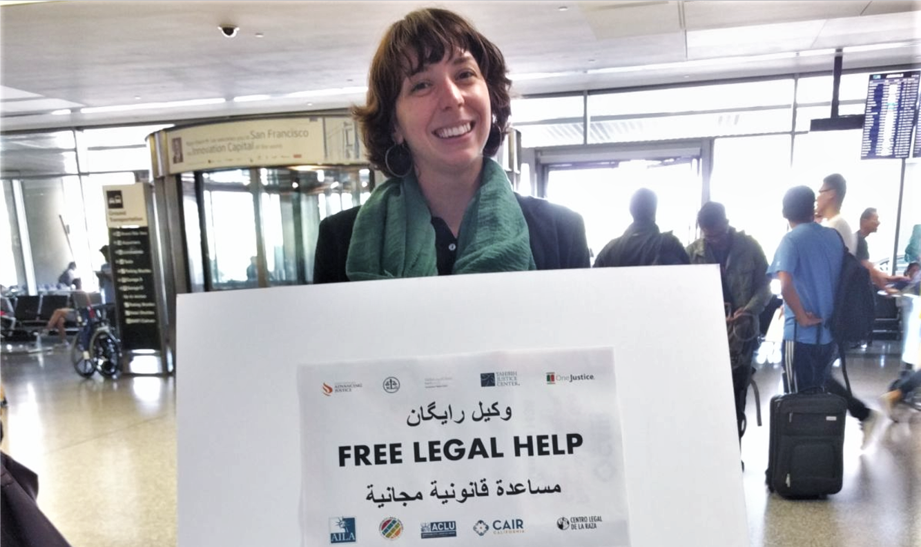 Moriah with sign - Free Legal Help